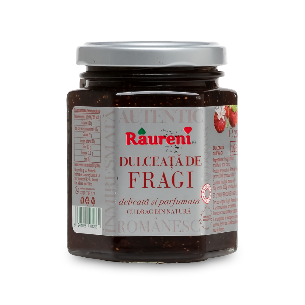 Raureni Dulceata de Fragi Wild Strawberry Preserves 12 x 250g
