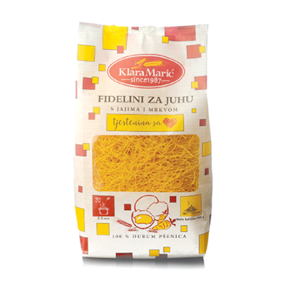 Klara M Pasta for Soup Fidelini with Carrot 8 x 400g