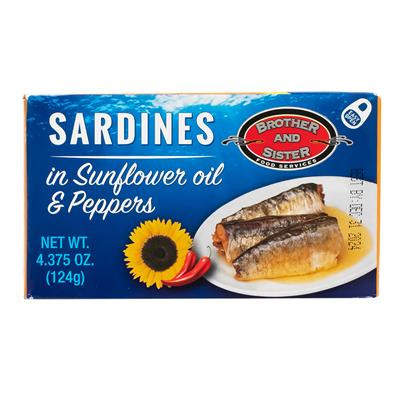 B&S Sardines Spicy in Sunflower Oil & Peppers 50 x 125g