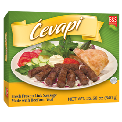B&S Frozen Cevapi Box 32 x 1.6lb